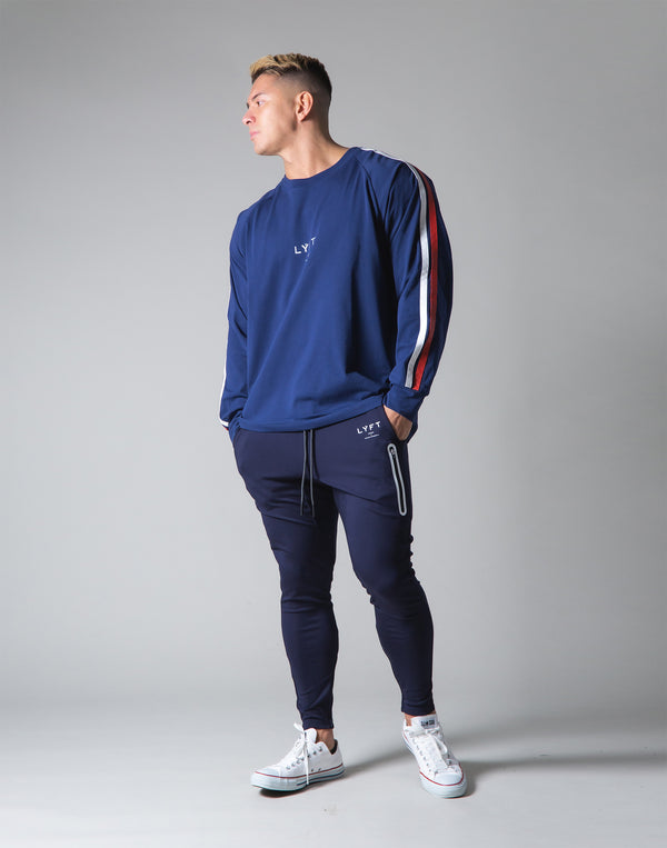 2 Line Long Sleeve Big T-Shirt - Navy