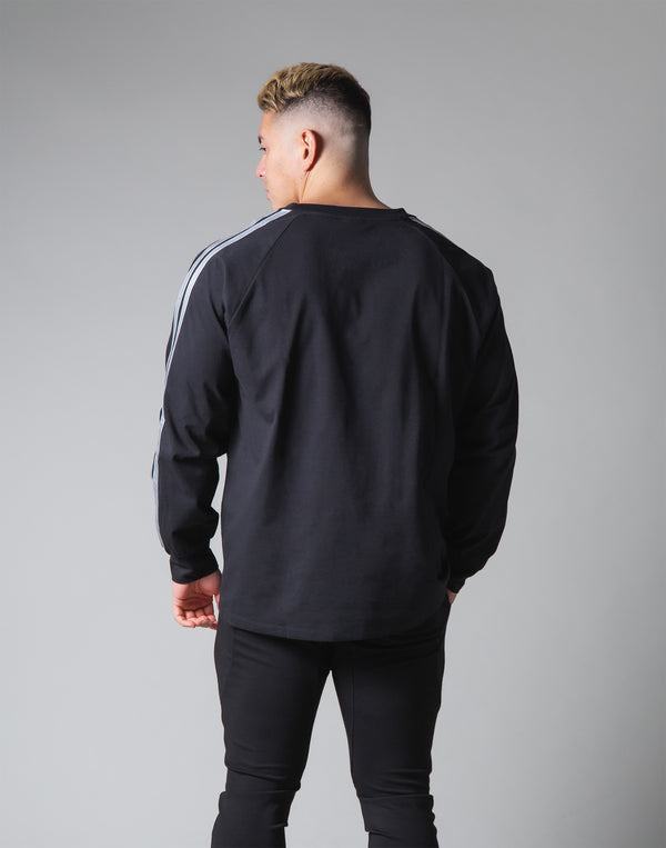 2 Line Long Sleeve Big T-Shirt - Black