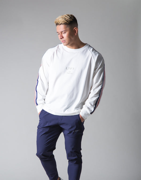 2 Line Long Sleeve Big T-Shirt - White
