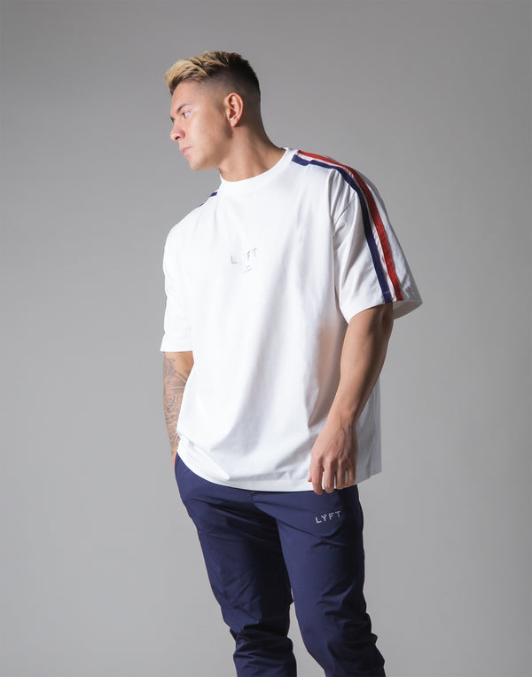 "2 Line Big T-Shirt - White ""Wide Body"""