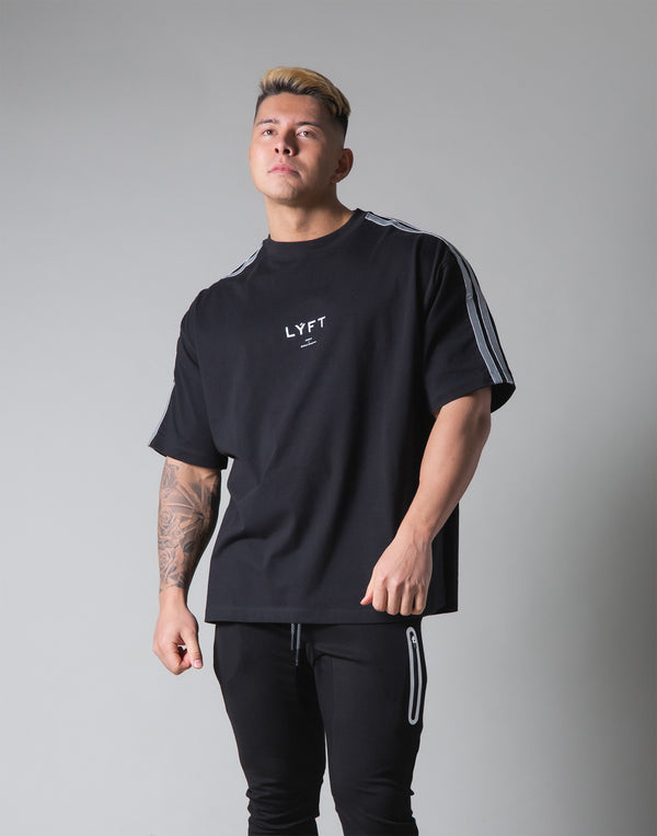 "2 Line Big T-Shirt - Black ""Wide Body"""