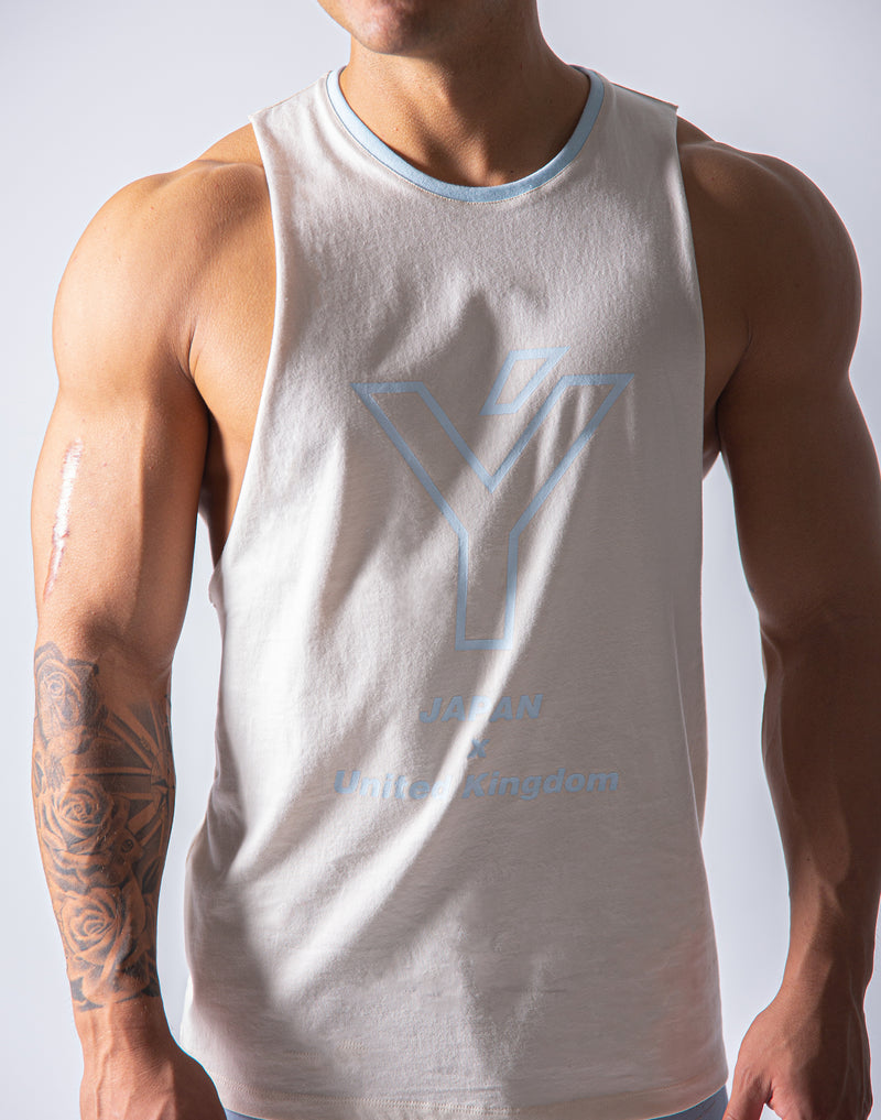 Drop Shoulder Tanktop - Ivory / White