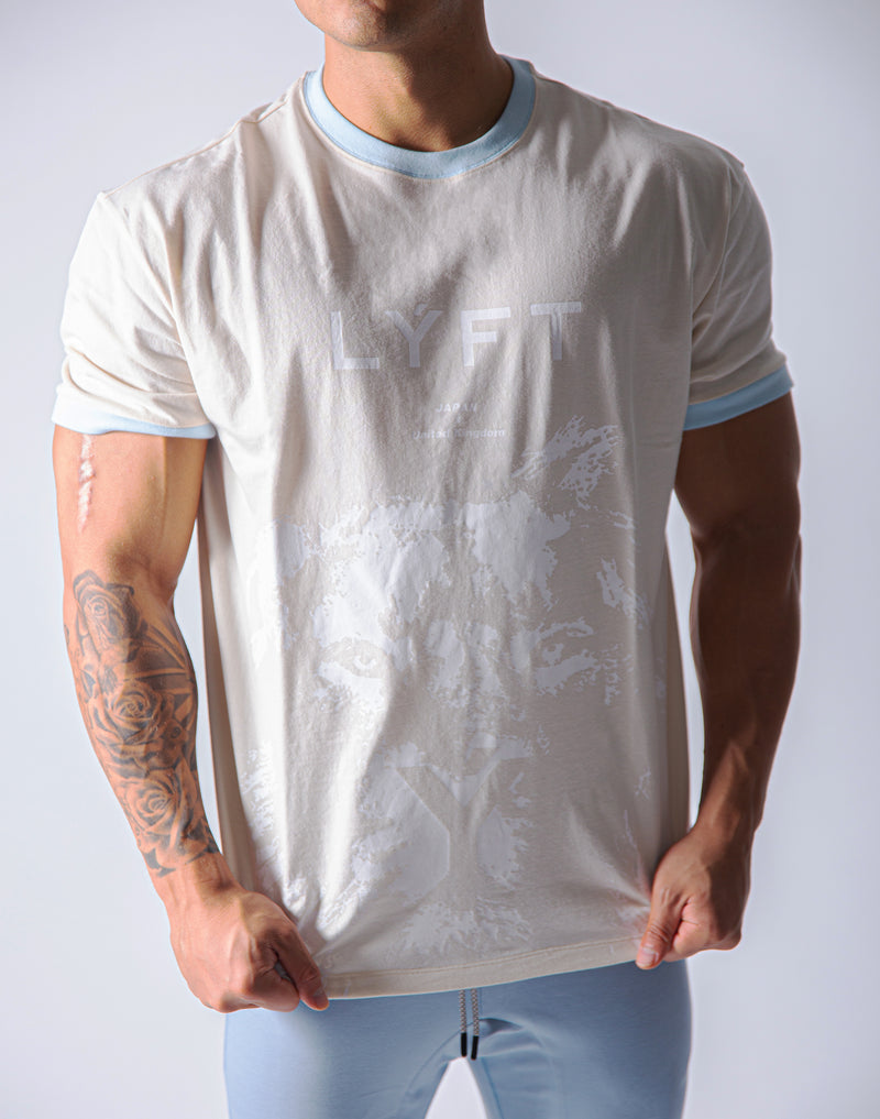 Big Size Lion T-Shirt -  Ivory / White
