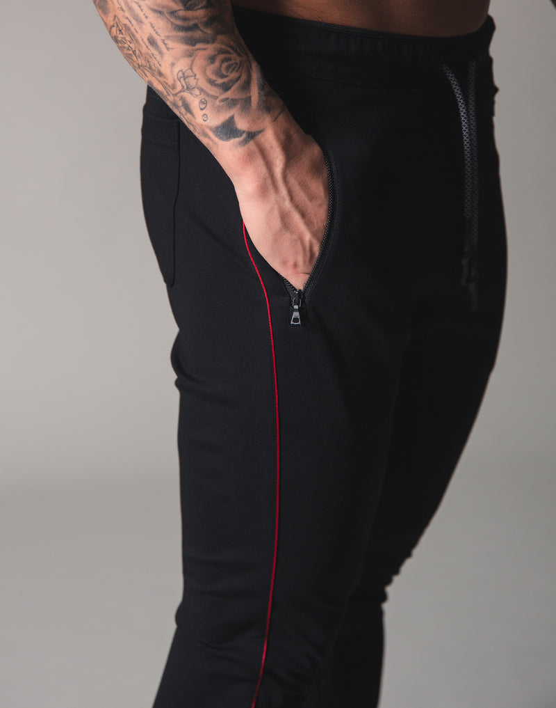 Piping 2Way Stretch Pants - Black