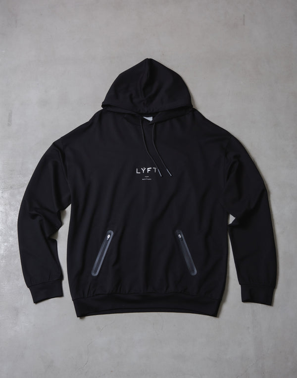 2 way Stretch Utility Pullover Hoodie - Black x Black