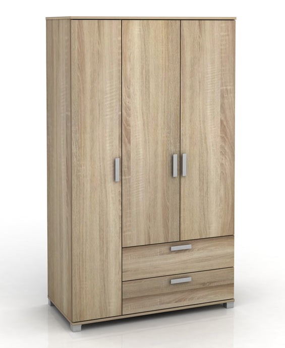 3 Door + 2 Drawer Wardrobe Full Oak