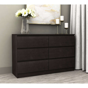 Coco 6 Drawer Chest Lowboy Black Brown