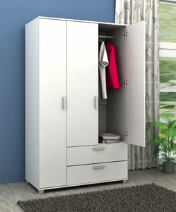 3 Door + 2 Drawer Wardrobe White