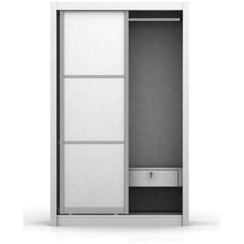 Sliding Wardrobe Aluminum Framed Matt White