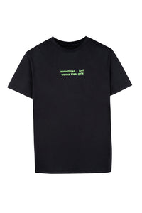 Black T-shirt Green Embroidery