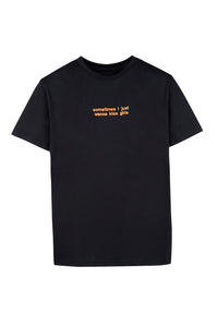 Black T-shirt Orange Embroidery
