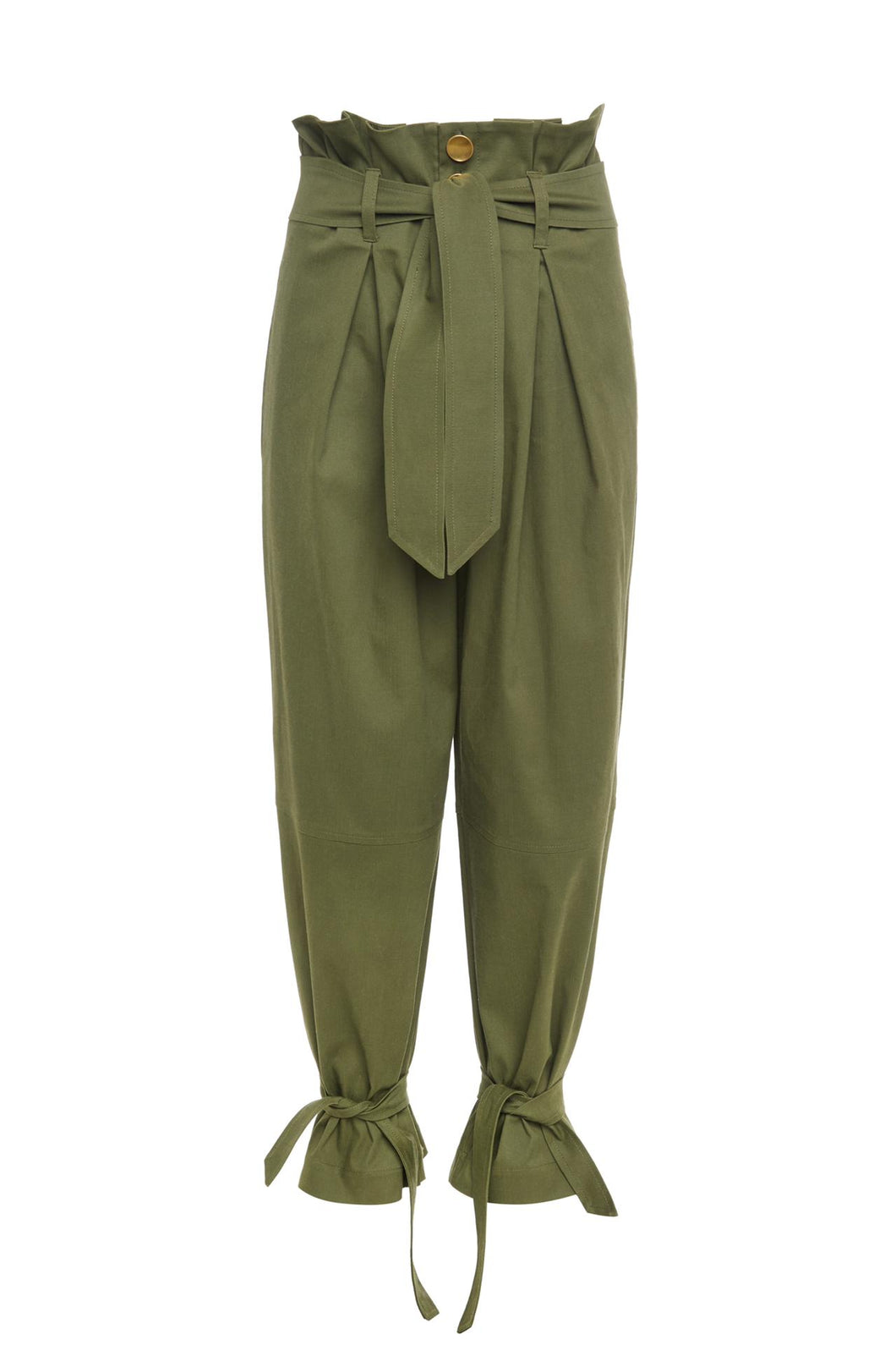 Green High Waist Belted Trousers