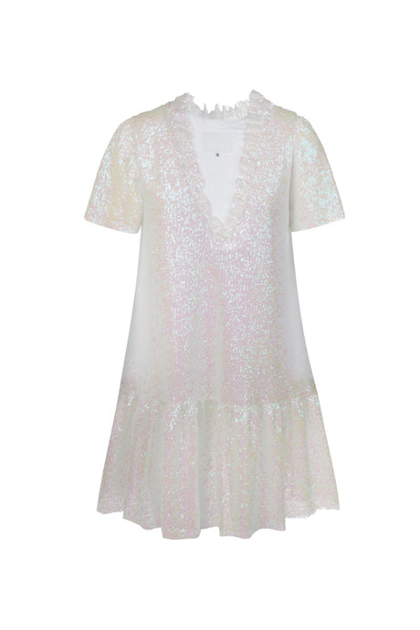 White sequins ruffled dress