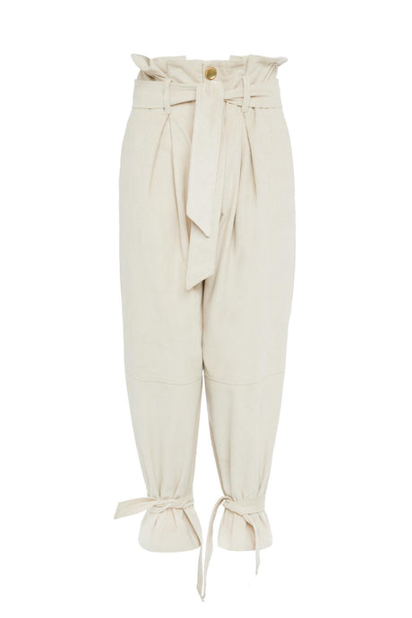 Nude High Waist Belted Trousers