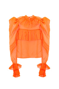 Orange Oversized Shoulders Shirt