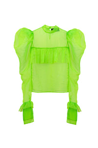 Green Oversized Shoulders Shirt