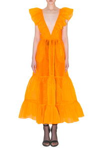 Long Neon Orange Organza Dress
