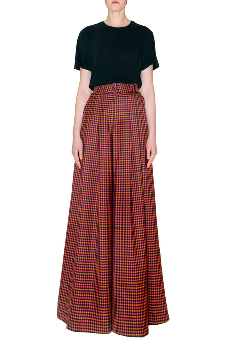 Wide Check Pants