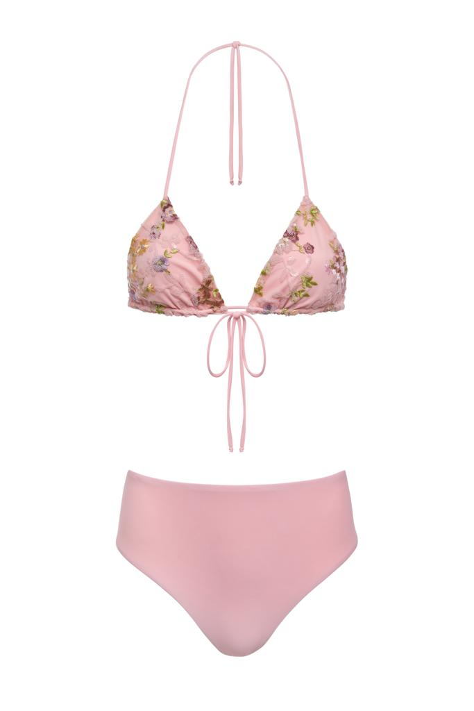 Embroidered Triangle Bikini Set