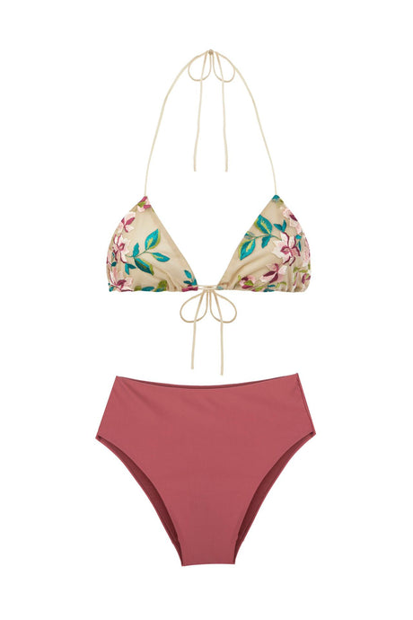 Embroidery Triangle Bikini Set