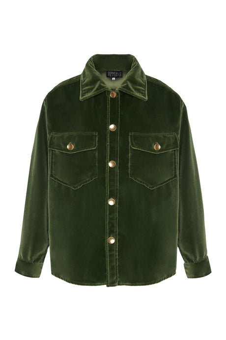 Green Velvet Oversized Shirt