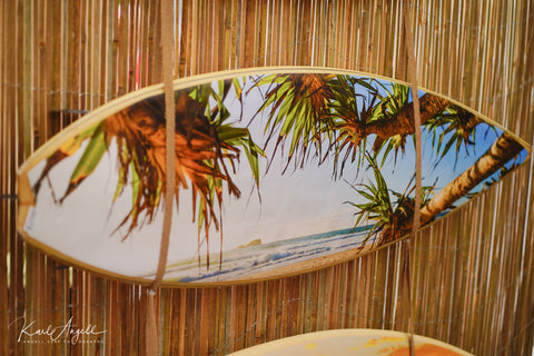 surfboard mounted prints, surfboard art