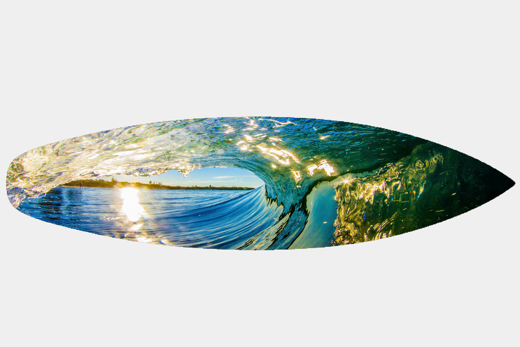 Dicky Beach Fisherman Wave - Surfboard Mounted Print - Surf Art Apparel