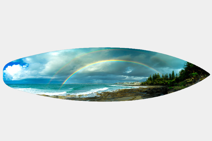 Kings Beach Rainbow - Surfboard Mounted Print - Surf Art Apparel