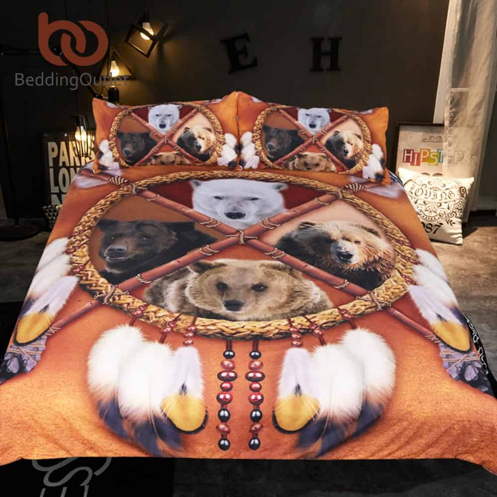 Native American Bedding Sets.Native American Indian Bears Dreamcatcher Bedding Set