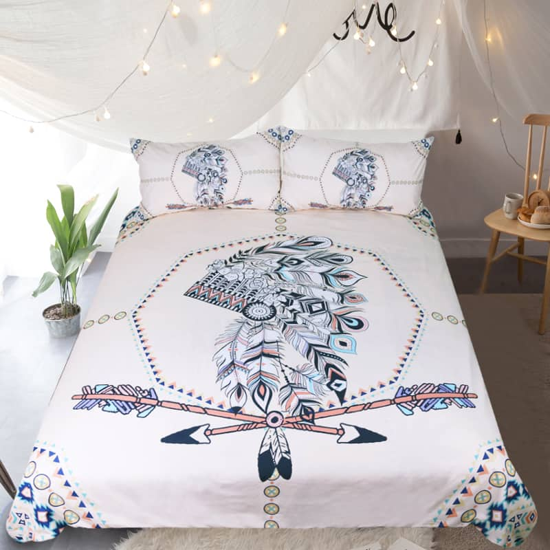 Native American Bedding Sets.Tribal Indian Feathers Native American Bedding Set