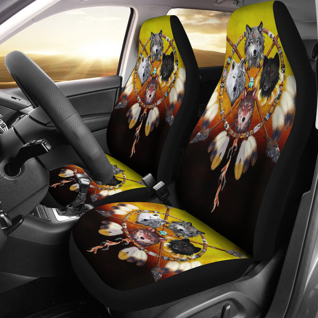 4 Wolves Warriors Native American Pride Car Seat Covers