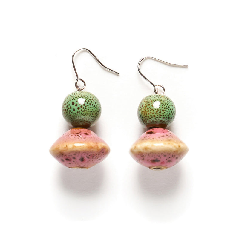 Double Ceramic Rose Earring Drop Dusty Rose