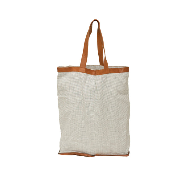 Shopper Leather Tan with Small Blue Check