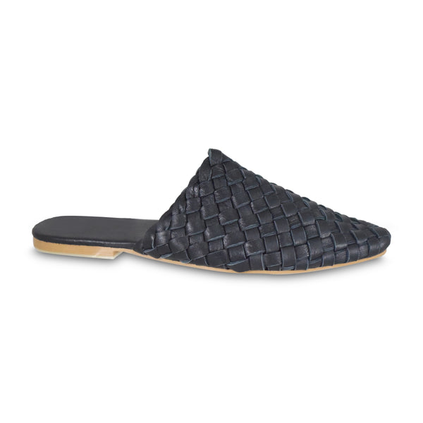 Pointed Woven Slide Black