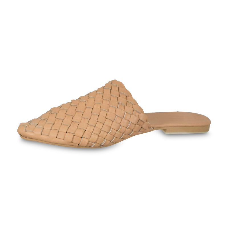 Pointed Woven Slide Tan