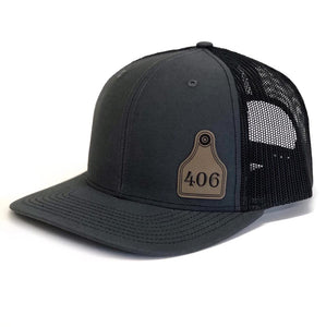406 Cattle tag on a Charcoal Snapback