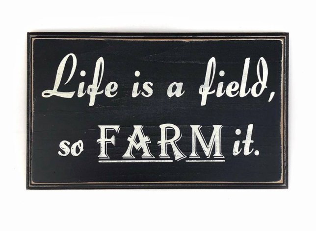 Life is a field, so farm it.