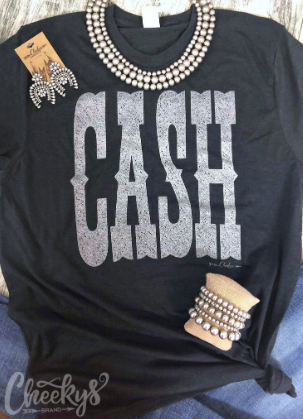CASH~Tee in Vintage Black