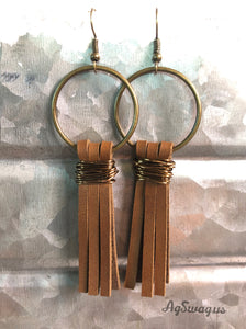 Copper coil and leather earrings