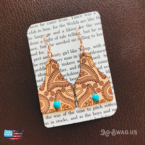 Paisley Cattle Tag Earrings