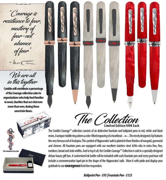 (New!) Conklin Courage (All-American) Fountain Pens Collection