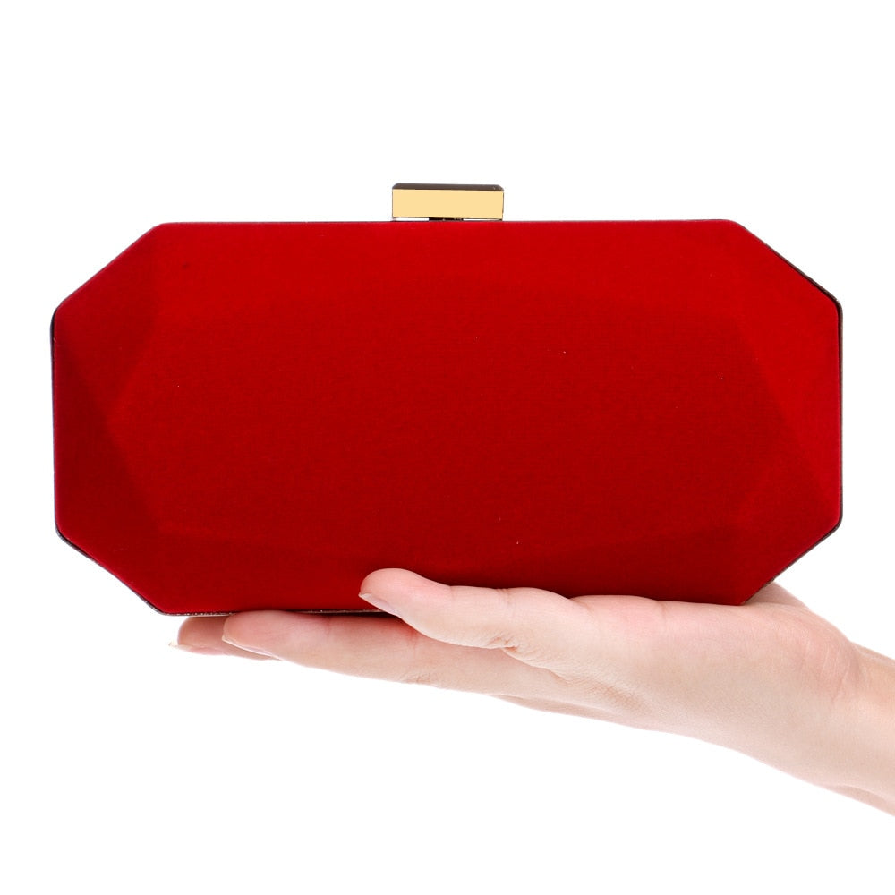 shopping latest trends attractive colour Red Velvet/Suede Women Evening Clutch Bag - Black Red Purple Navy Classical  Small Purse