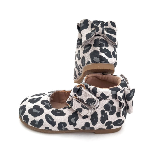 Snow Leopard Suede with a Bow - Minnie Cross Straps