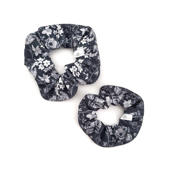 Monochrome Floral - Mini + Regular Scrunchies