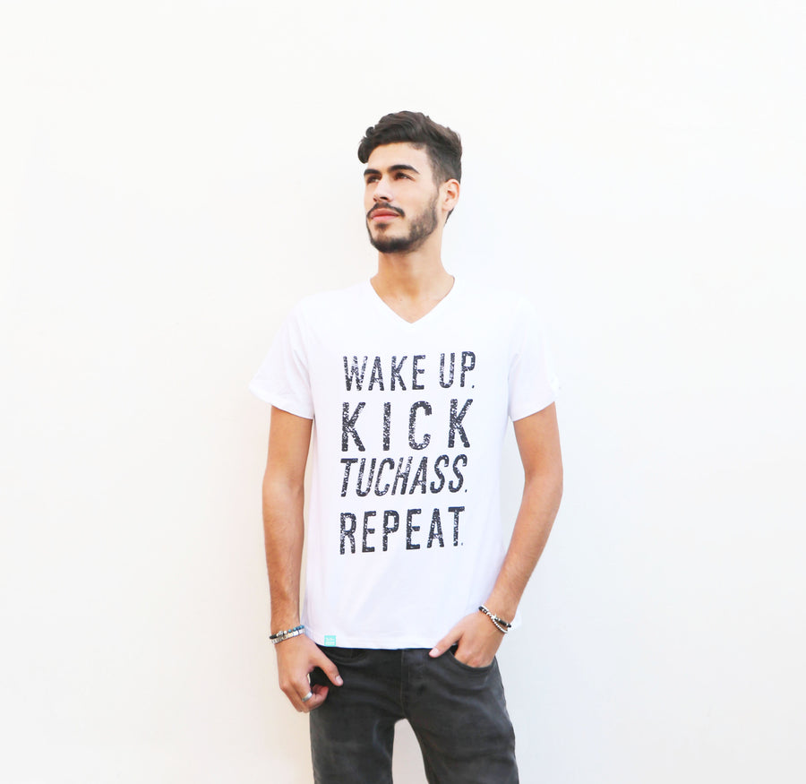 Wake Up. Kick Tuchass. Repeat. - Men's Tee