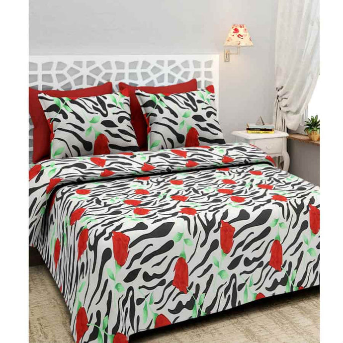 BlingBling Multicolored Printed Polycotton Double Bedsheet Set With 2 Pillow Covers