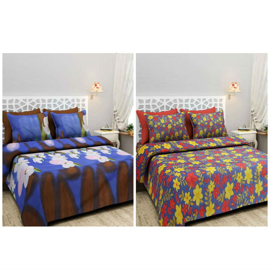 BlingBling Multicolored Printed Polycotton 2 Double Bedsheet Set With 4 Pillow Covers - IndiaCliq
