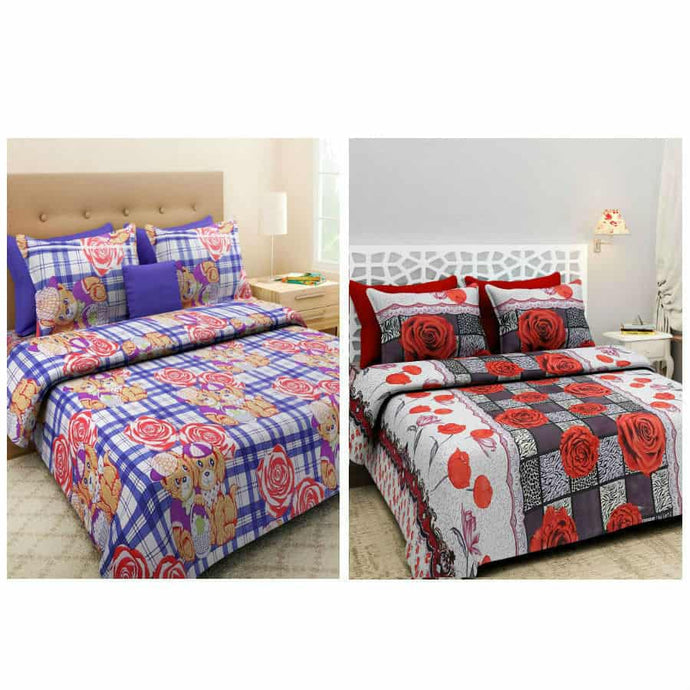 BlingBling Multicolored Floral Printed 2 Double Bedsheet Set With 4 Pillow Covers