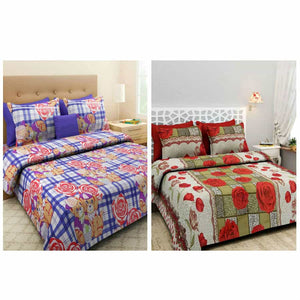 BlingBling Multicolored Floral Printed 2 Double Bedsheet Set With 4 Pillow Covers - IndiaCliq