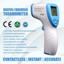 Load image into Gallery viewer, Infrared Thermometer (IPX0 Waterproof)GP-200 Forehead thermometer / Temperature Gun for baby and adults Measures surface/room/water/Milk temp(White Blue)